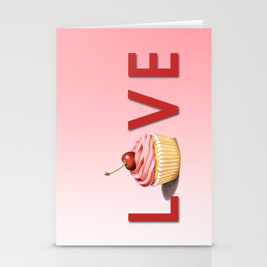 Perfect Pink Cupcake LOVE Stationery Card
