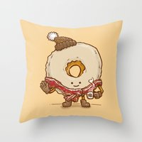 Bacon Scarf Maple Donut Throw Pillow