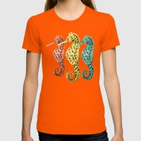 SeaHorses Womens Fitted Tee Orange SMALL
