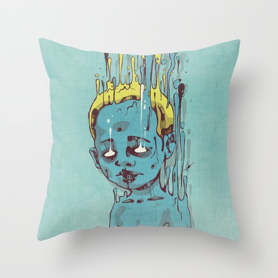 The Blue Boy with Golden Hair Throw Pillow