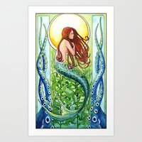 Kelp Forest Mermaid Art Print