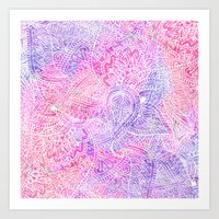 Pink Purple Paisley Love Art Print