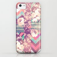 iPhone 5c Cases featuring Retro Pink Turquoise Floral Stripe Chevron Pattern by Girly Trend