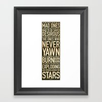 Jack Kerouac Mad Ones Quote Framed Art Print