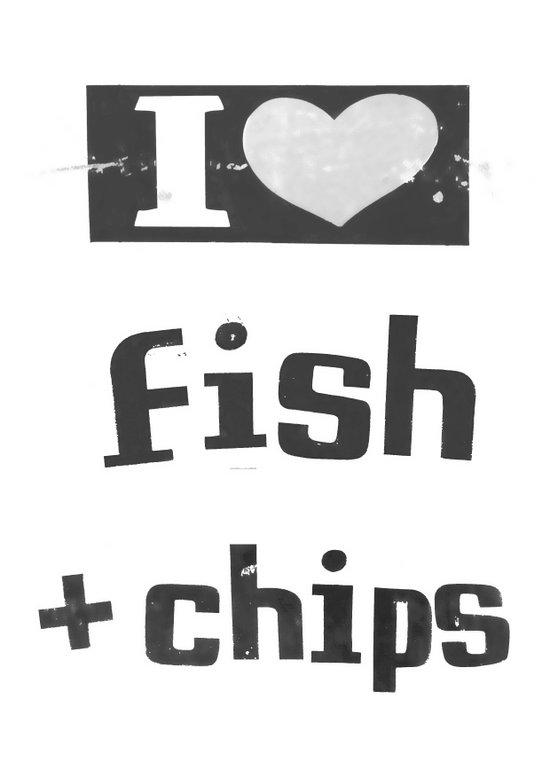 I ♥ Fish And Chips - Dark Gray Art Print