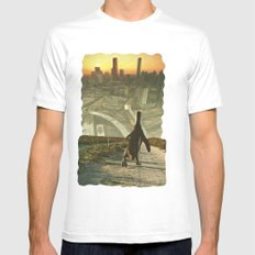Penguin City White Mens Fitted Tee SMALL