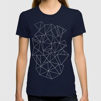 Abstraction Outline Grey Womens Fitted Tee Navy SMALL