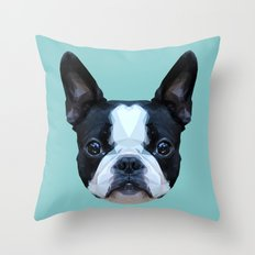 Frenchie / Boston Terrier // Blue Throw Pillow