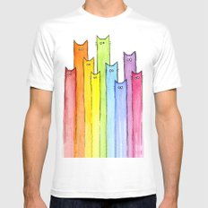 Cat Rainbow Watercolor Pattern Mens Fitted Tee White SMALL