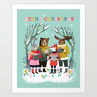 Woodland Christmas Carol… Art Print