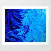 PETAL PINWHEELS - Deep Indigo Blue Royal Blue Turquoise Floral Pattern Swirls Ocean Water Flowers Art Print