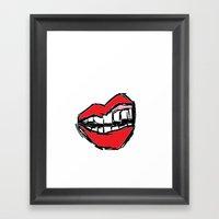 Rough Sketch Of Lips. Framed Art Print
