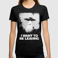 I WANT TO BE LEAVING Womens Fitted Tee Tri-Black SMALL
