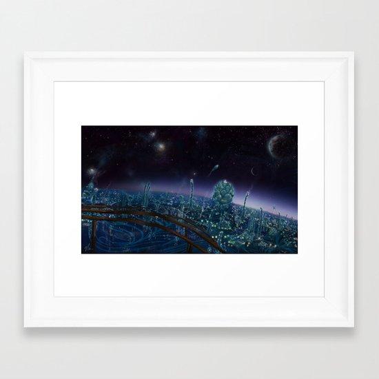 Living On Antaries - cityscape photoshop painting of alien world Framed Art Print