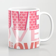 The Word Love In Red With Hearts Mug