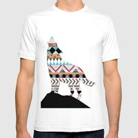 Wild Soul - Aztec Navajo Wolf Mens Fitted Tee White SMALL