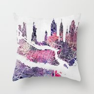 New York Skyline + Map Throw Pillow