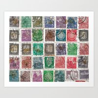Old Stamps Art Print