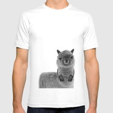 Portrait of Alpaca Mens Fitted Tee White SMALL