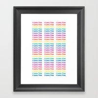 Pixeled  Love Framed Art Print