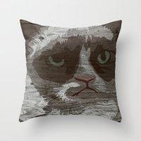 Grumpy Kitty : NO. Throw Pillow
