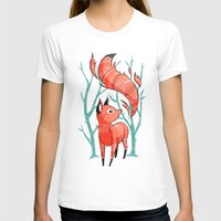 trees T-shirts featuring Winter Fox by Freeminds