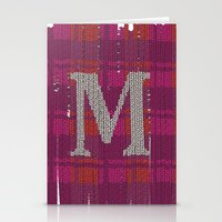 Winter clothes. Letter M. Stationery Cards