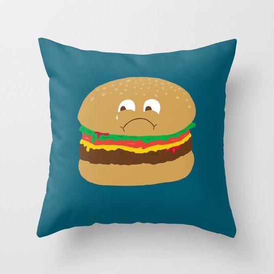 Sad Hamburger Throw Pillow