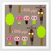 3 Little Pigs Art Print