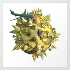 World in Low Poly Style Art Print