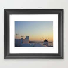 sunset in oia Framed Art Print