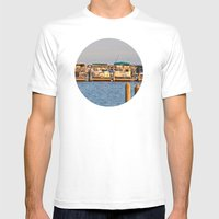 Docked Boats  Mens Fitted Tee White SMALL