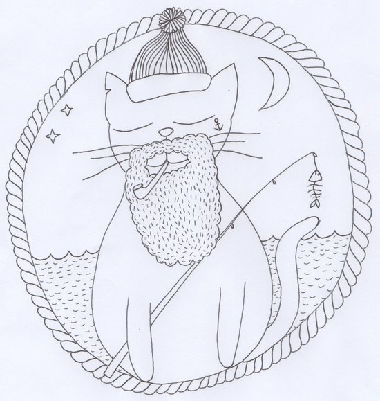 Cat fisherman Art Print