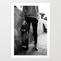 SkateBoard Girl Art Print
