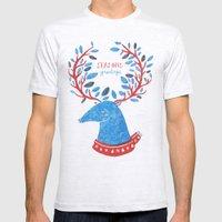 Reindeer Seasons Greetings Mens Fitted Tee Ash Grey SMALL