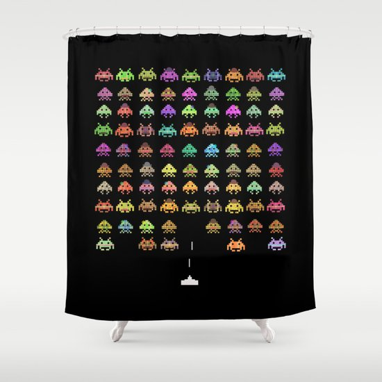 Fashionable Invaders Shower Curtain