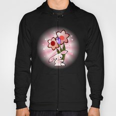 Little Pink Bunny With Flowers Hoody
