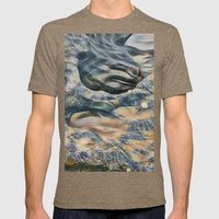 Abstract eroded rocks on beach with puddle Mens Fitted Tee Tri-Coffee SMALL