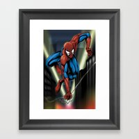 Sharp Spidey Swing Framed Art Print