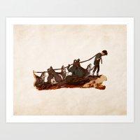 Hunting Boar Art Print