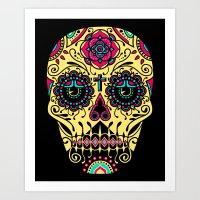 Deco Sugar Skull 3 Art Print