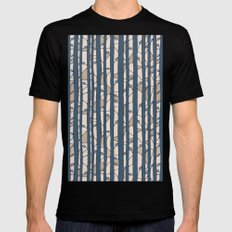 Into The Woods blue cream SMALL Mens Fitted Tee Black