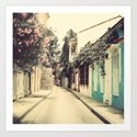 Just like a dream street (Retro and Vintage Urban, architecture photography) Art Print