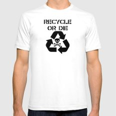 Recycle Black White Mens Fitted Tee SMALL