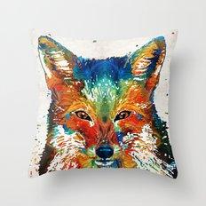 Colorful Fox Art - Foxi - By Sharon Cummings Throw Pillow