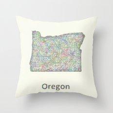 Oregon map Throw Pillow