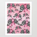 Breast cancer awareness winged ribbons pattern.  Art Print