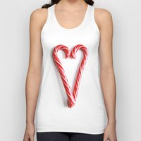 Candy Cane Heart Unisex Tank Top