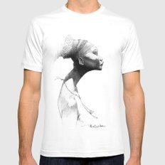 Afro White SMALL Mens Fitted Tee