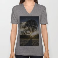 A Winters Sunset Unisex V-Neck